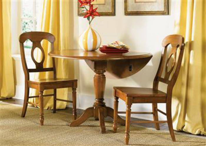 76 Low Country Drop Leaf Pedestal Table w/2 Chairs,Liberty Furniture Industries