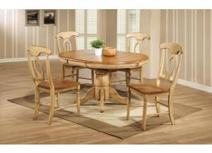 DQ14257W Quails Run Round Pedestal Table w/ Butterfly Leaf & 4 chairs